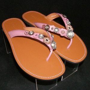 Coach Tea Rose purple leather floral sandals 11B